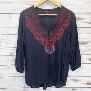 3/ $25 SALE! Lucky Brand Peasant Top Sz M ::U5